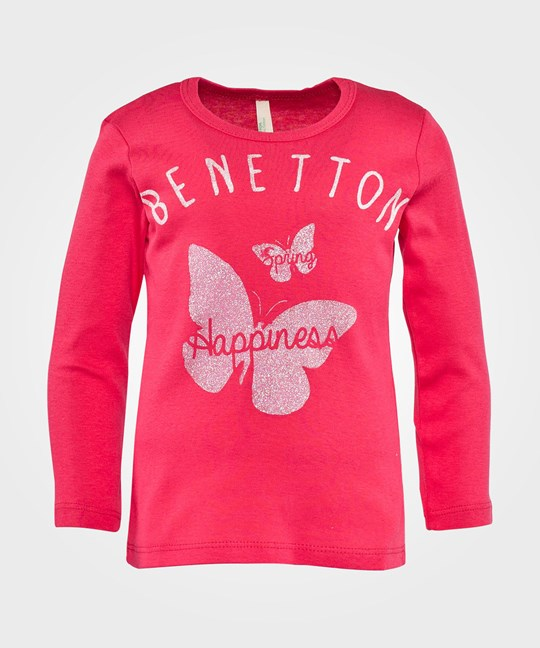 United Colors of Benetton Round Neck T-Shirt With Butterfly Logo Print Rosa Rosa