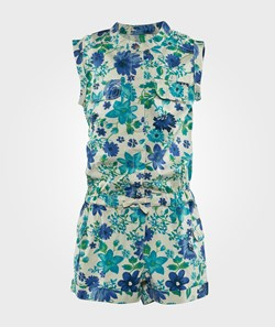 United Colors of Benetton Flower Print Playsuit With Pocket Details And Elasticated Waist White