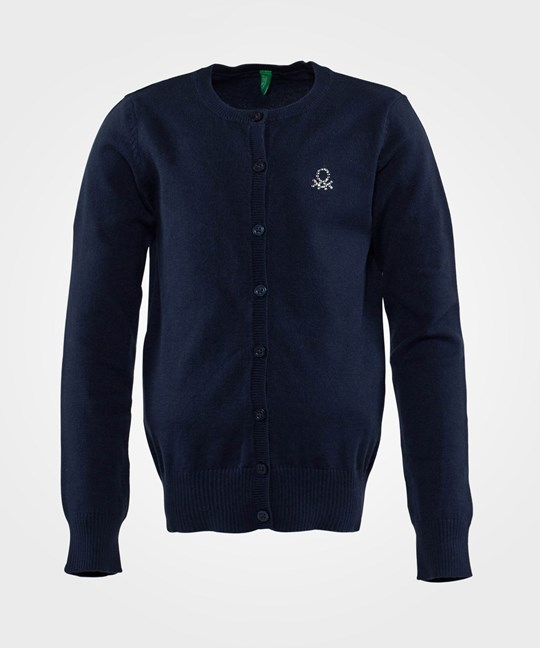 United Colors of Benetton Round Neck Logo Cardigan Navy Marinblå
