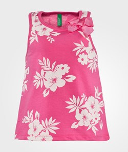 United Colors of Benetton Floral Print Vest Top With Bow Detail Rosa