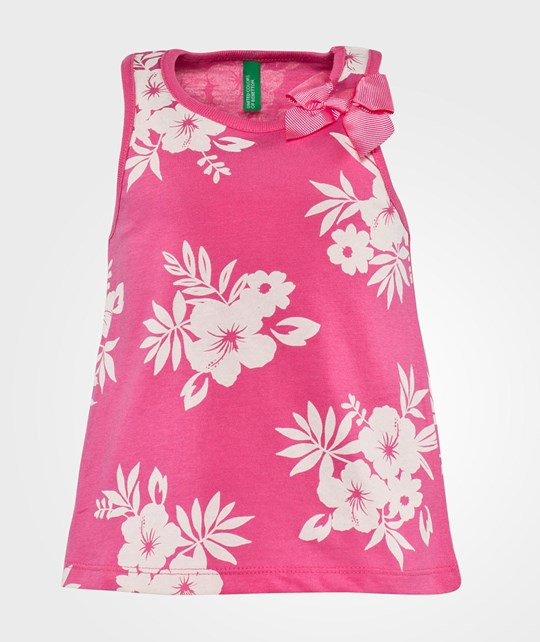 United Colors of Benetton Floral Print Vest Top With Bow Detail Rosa Pink