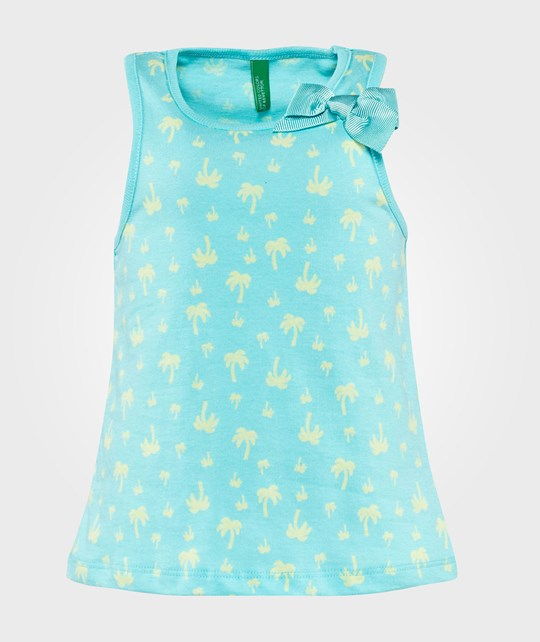 United Colors of Benetton Palm Tree Print Vest Top With Bow Detail Turquoise Turquoise