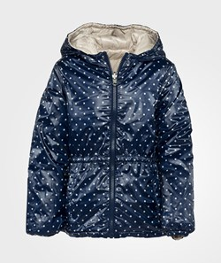 United Colors of Benetton Polka Dot Print Reversible Hooded Jacket Navy