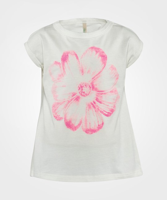 United Colors of Benetton Pink Flower Print T-Shirt White White