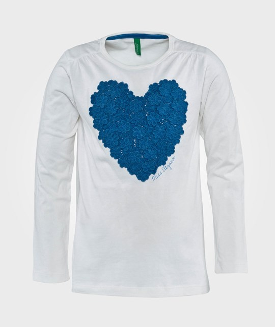 United Colors of Benetton Purple T-Shirt With Heart Detail  White White