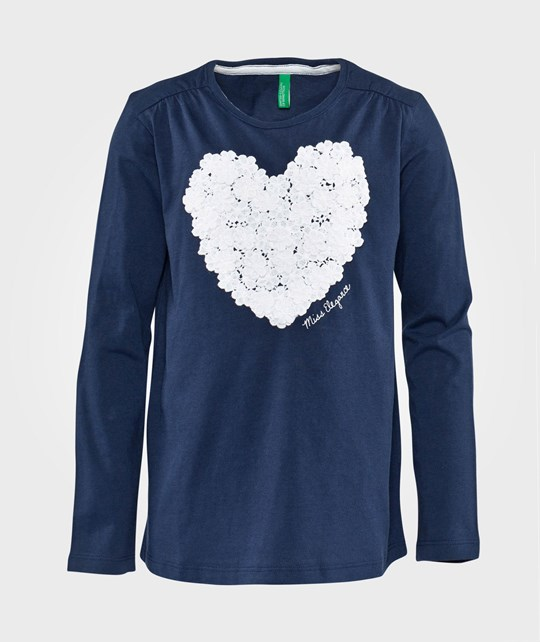 United Colors of Benetton T-Shirt With White Heart Detail Navy Navy