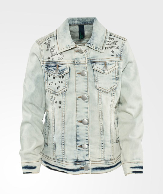 United Colors of Benetton Printed Denim Jacket Blue Blue