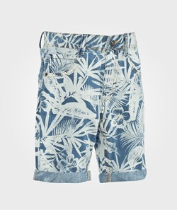 United Colors of Benetton Leaf Print Five Pocket Denim Shorts Light Blue