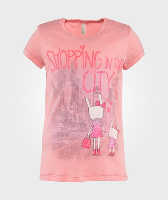 United Colors of Benetton Shopping In The City Print Short Sleeve T-Shirt Rosa Pink