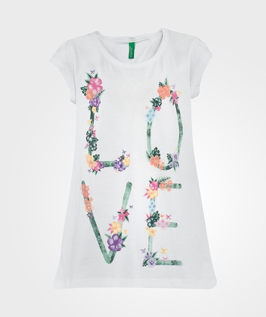 United Colors of Benetton Love Print Short Sleeve T-Shirt White White