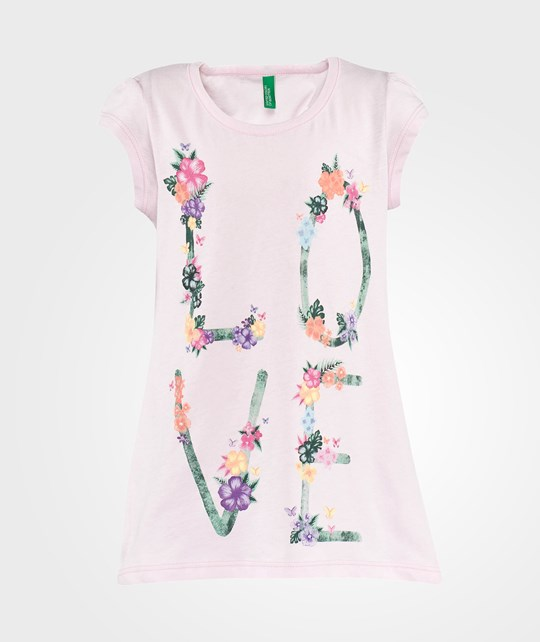 United Colors of Benetton Love Print Short Sleeve T-Shirt Rosa Rosa