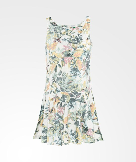 United Colors of Benetton Leaf Print Sleeveless Jersey Dress With Peplem Skirt White White