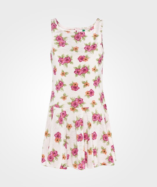 United Colors of Benetton Flower Print Sleeveless Jersey Dress With Peplem Skirt Rosa Lyserød