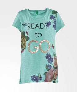 United Colors of Benetton Floral Print T-Shirt Green