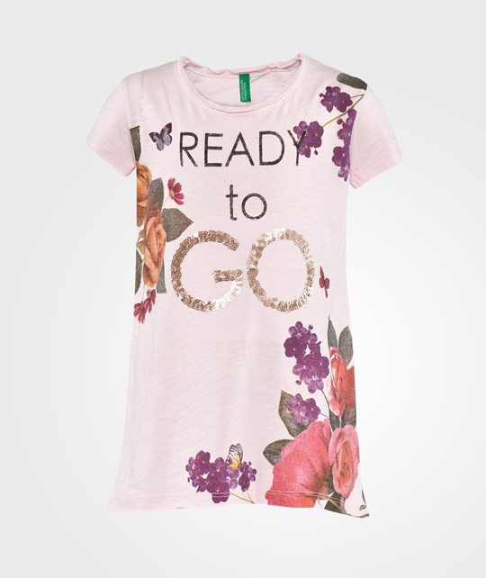 United Colors of Benetton Floral Print T-Shirt Rosa Rosa