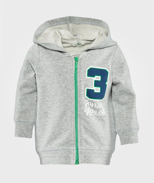 United Colors of Benetton Zip Through Hoodie Grey Sort