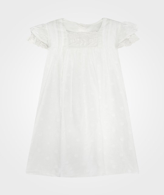 United Colors of Benetton Cotton Dress With Embrodary Off White Off white