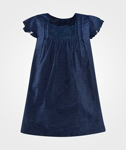 United Colors of Benetton Cotton Dress With Embrodary Navy Blue