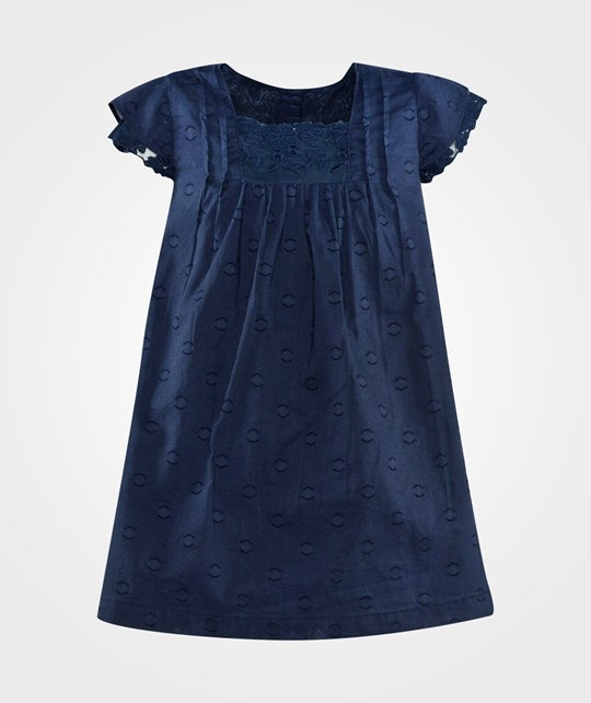United Colors of Benetton Cotton Dress With Embrodary Navy Blue Navy Blue
