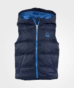 United Colors of Benetton Sleeveless Puffa Logo Gilet With Hood Navy