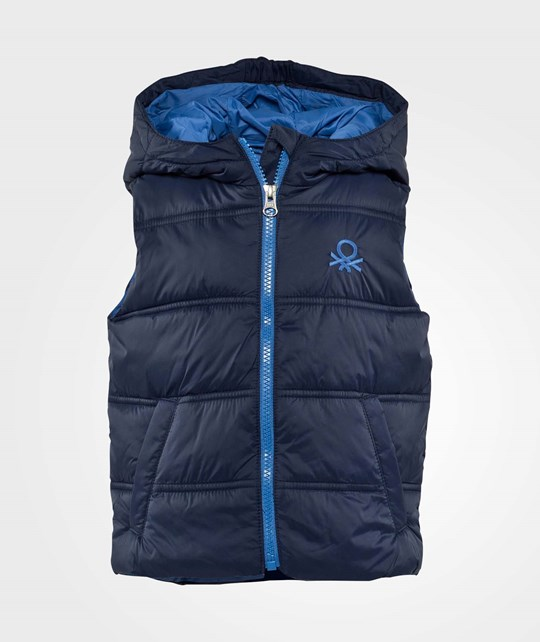 United Colors of Benetton Sleeveless Puffa Logo Gilet With Hood Navy Navy