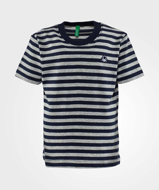 United Colors of Benetton Stripy Logo T-Shirt Grey Grey
