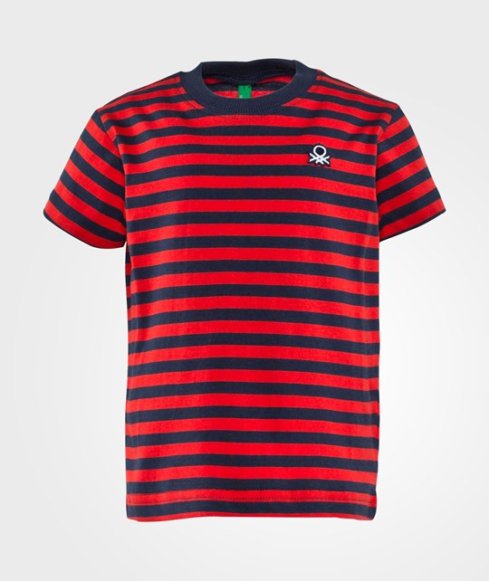 United Colors of Benetton Stripy Logo T-Shirt Red Red