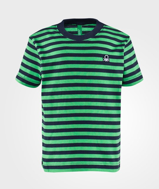 United Colors of Benetton Stripy Logo T-Shirt Bright Green Bright Green