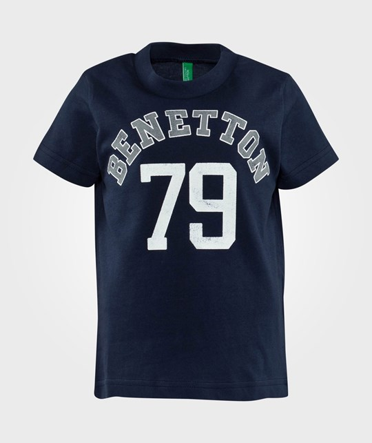 United Colors of Benetton Stylized Logo T-Shirt Navy Off white