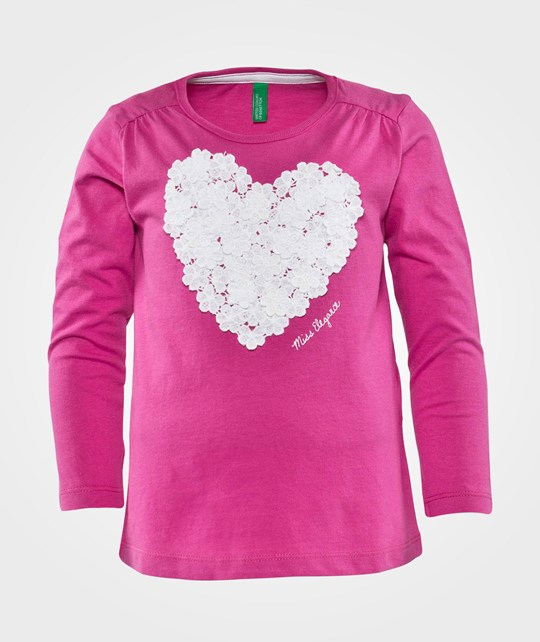 United Colors of Benetton Miss Elegance T-Shirt With Heart Detail Rosa Pink