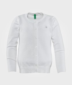 United Colors of Benetton Round Neck Logo Cardigan White