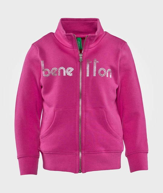 United Colors of Benetton Logo Zip Through Jersey Sweater Rosa Pink