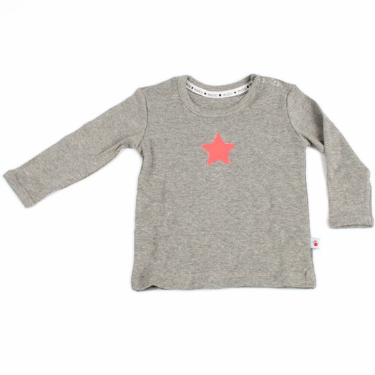 Molo T-shirt Faine Grey With Pink Black
