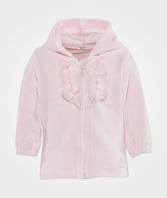 United Colors of Benetton Velour Hooded Cardigan Zip Through Pink Pink