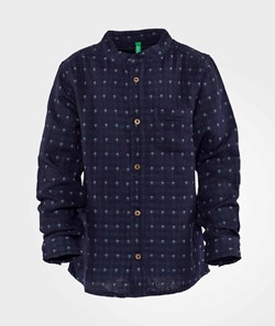 United Colors of Benetton Printed Collarless Shirt With Pocket Navy