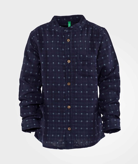 United Colors of Benetton Printed Collarless Shirt With Pocket Navy Navy
