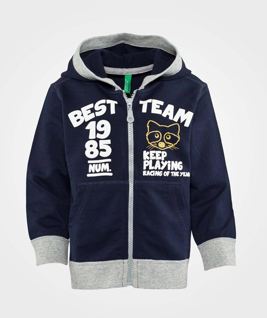 United Colors of Benetton Zip Through Hoodie With Contrast Colour Trims Navy Navy