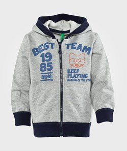 United Colors of Benetton Zip Through Hoodie With Contrast Colour Trims Grey