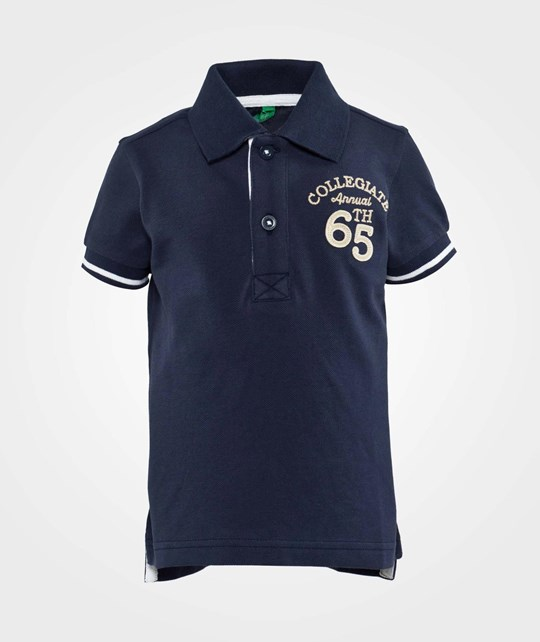 United Colors of Benetton Polo T-Shirt With Contrast Colour Stitching Navy Navy