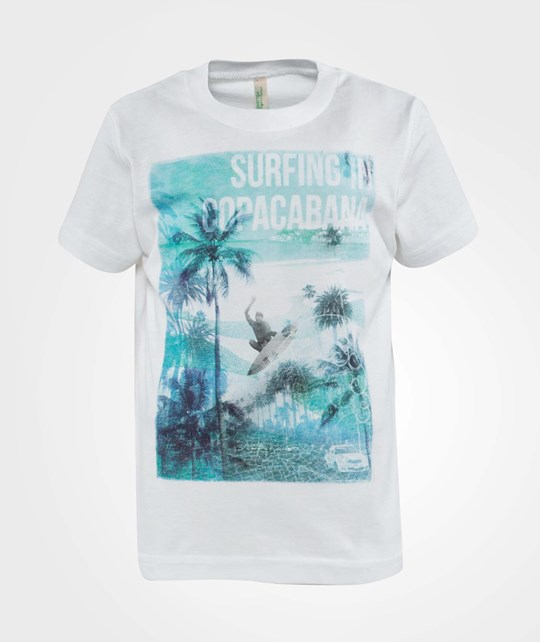 United Colors of Benetton Surfing In Copacabana Print T-Shirt Classic White Classic White