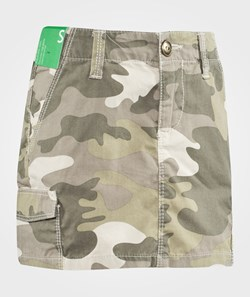 United Colors of Benetton Camoflage Print Skirt With Side Pockets Karki