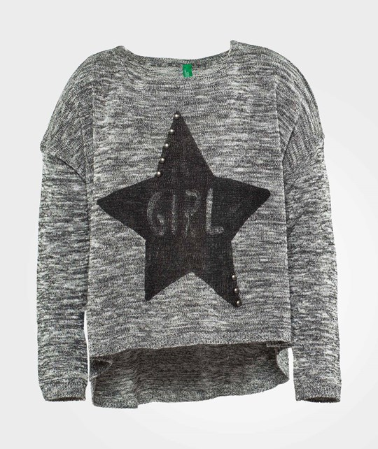 United Colors of Benetton Knitted Sweater With Star Print Detail Black Black