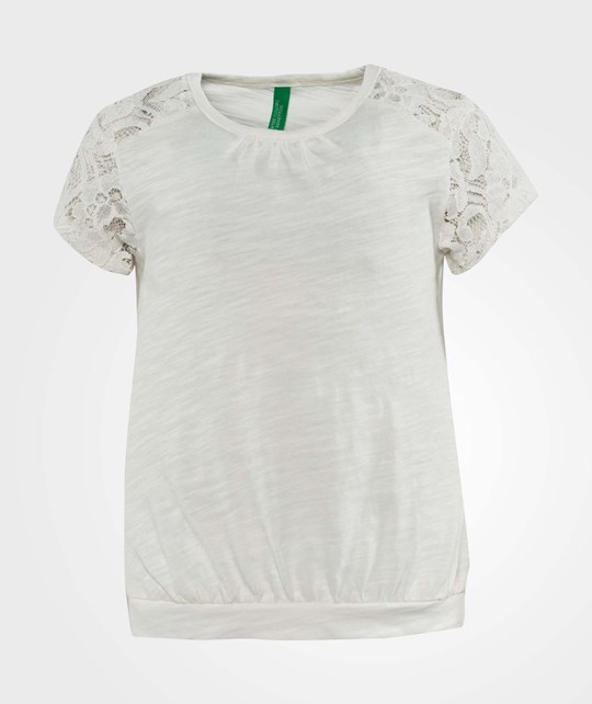 United Colors of Benetton Rond Neck T-Shirt With Embroidered Sleeve White White