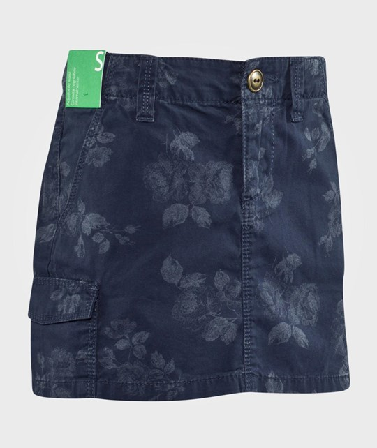 United Colors of Benetton Flower Print Skirt With Side Pockets Navy Navy