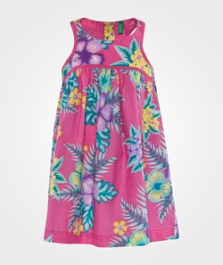 United Colors of Benetton Floral Print Dress With Button Back  Rosa