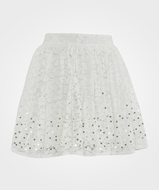 United Colors of Benetton Flower Design Macrame Lace Skirt With Sequins Detail White White
