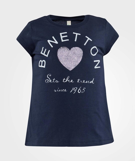 United Colors of Benetton Round Neck Stylised Logo T-Shirt Navy Marinblå