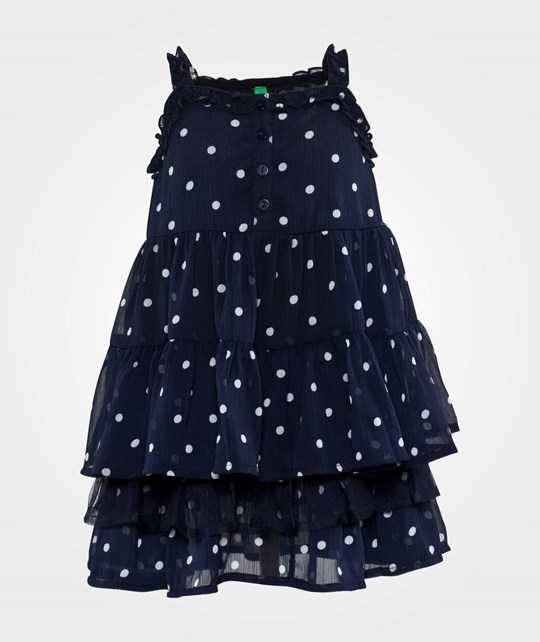 United Colors of Benetton Polka Dot Layered Dress Navy Navy