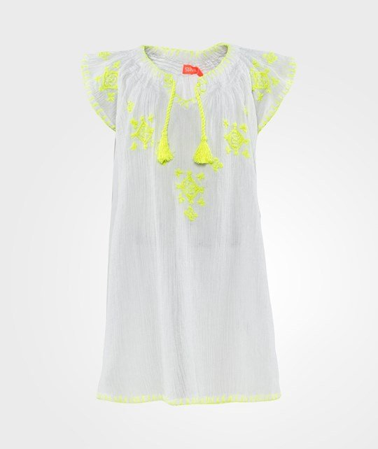 Sunuva Cheesecloth Dress  White With Neon Yellow