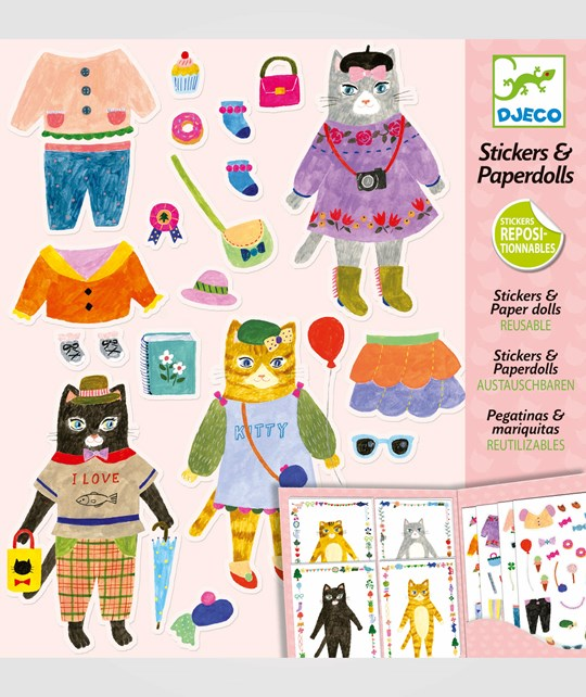 Djeco My Cat Friends Stickers And Paperdolls Multi